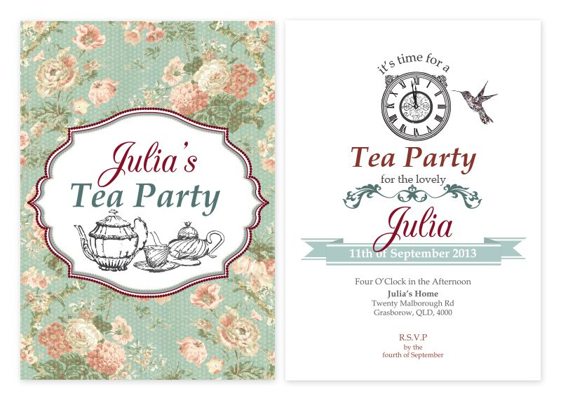 Vintage Tea Party Personalised Invitations only from Pink – Hens Party Invitations Australia