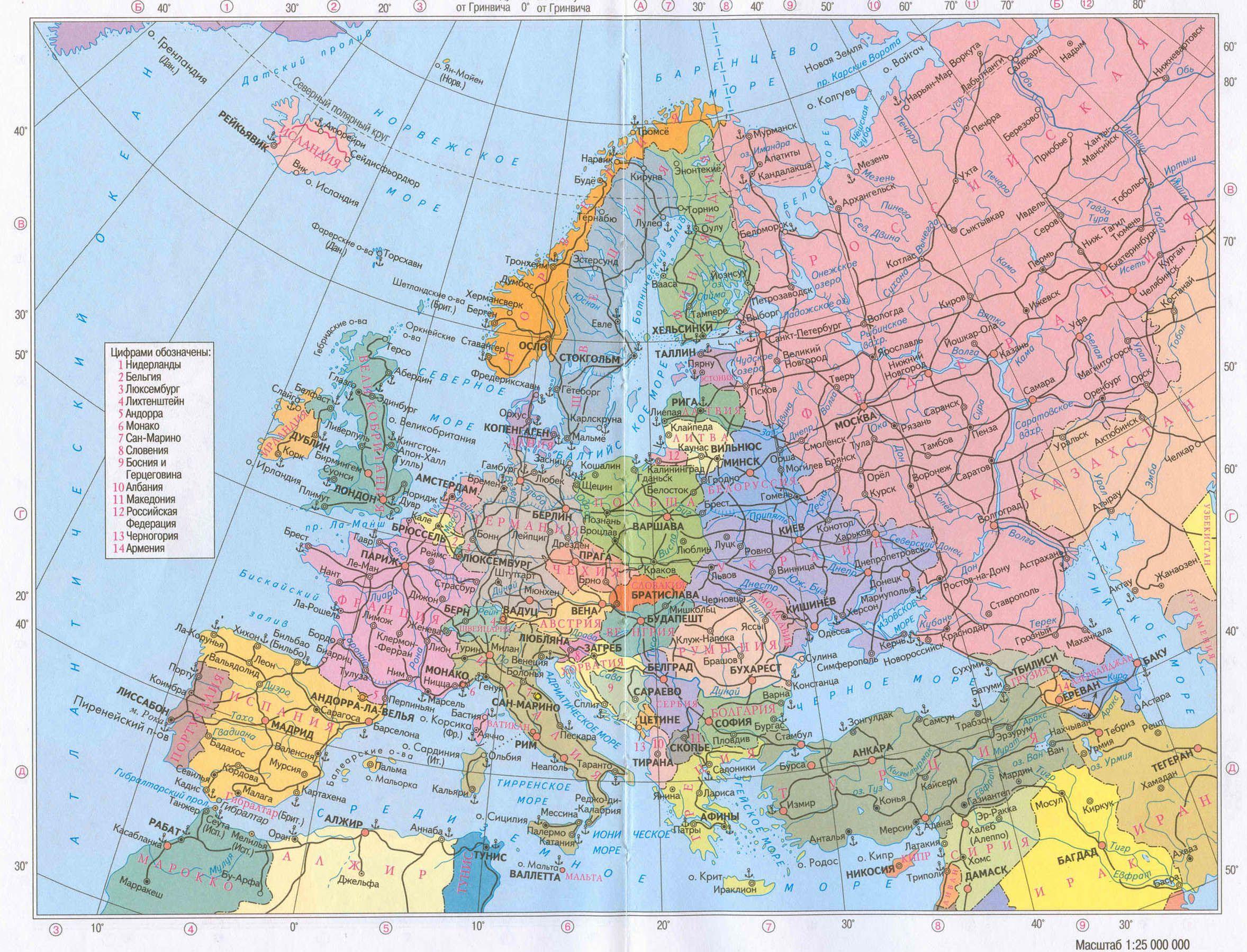Politicheskaya Karta Evropy Na Russkom Yazyke Karta Evropa Istoriya