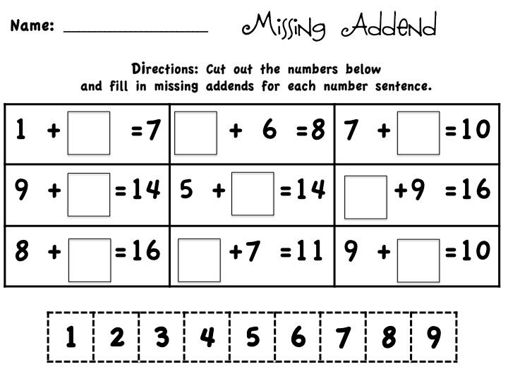 I like this worksheet because of the variety of missing addend ...