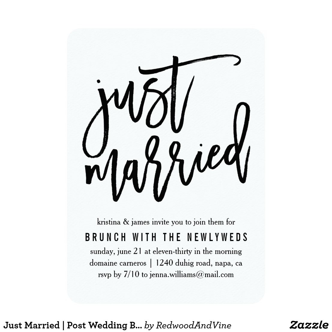 Just Married Post Wedding Brunch Invitation Zazzle Com Wedding Brunch Invitations Post Wedding Brunch Invitations Post Wedding