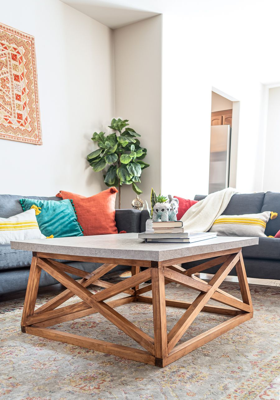 How To Build A Diy Angled X Base Coffee Table With A Concrete Top Free Plans Coffee Table Plans Coffee Table Coffee Table Inspiration [ 1282 x 900 Pixel ]