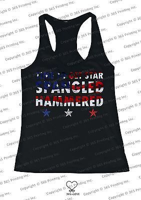 Red White and Blue American Flag Star Spangled Hammered Women's Tank Tops