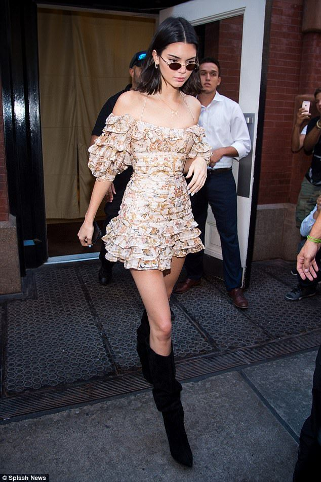 ef7b4d52c08 Model physique  Kendall Jenner stepped out in New York showing off her  slender figure in a ruffled mini dress