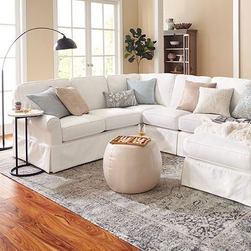 Lia Pierformance White Build Your Own Slipcovered Sectional Pier 1 Sectional Living Room Layout Sectional Slipcover Couches Living Room