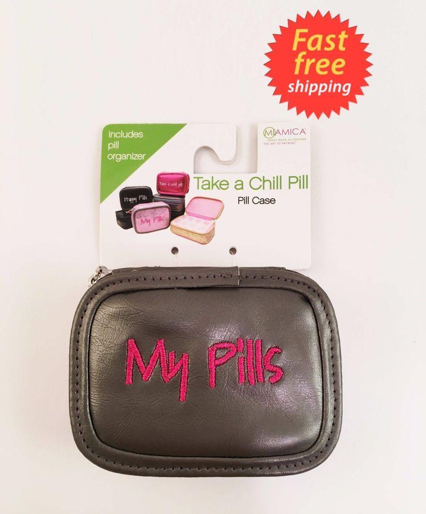 MIAMICA Grey U0026 Pink MY PILLS PILL CASE Weekly Storage TRENDY Pill Box  46412068139 | EBay