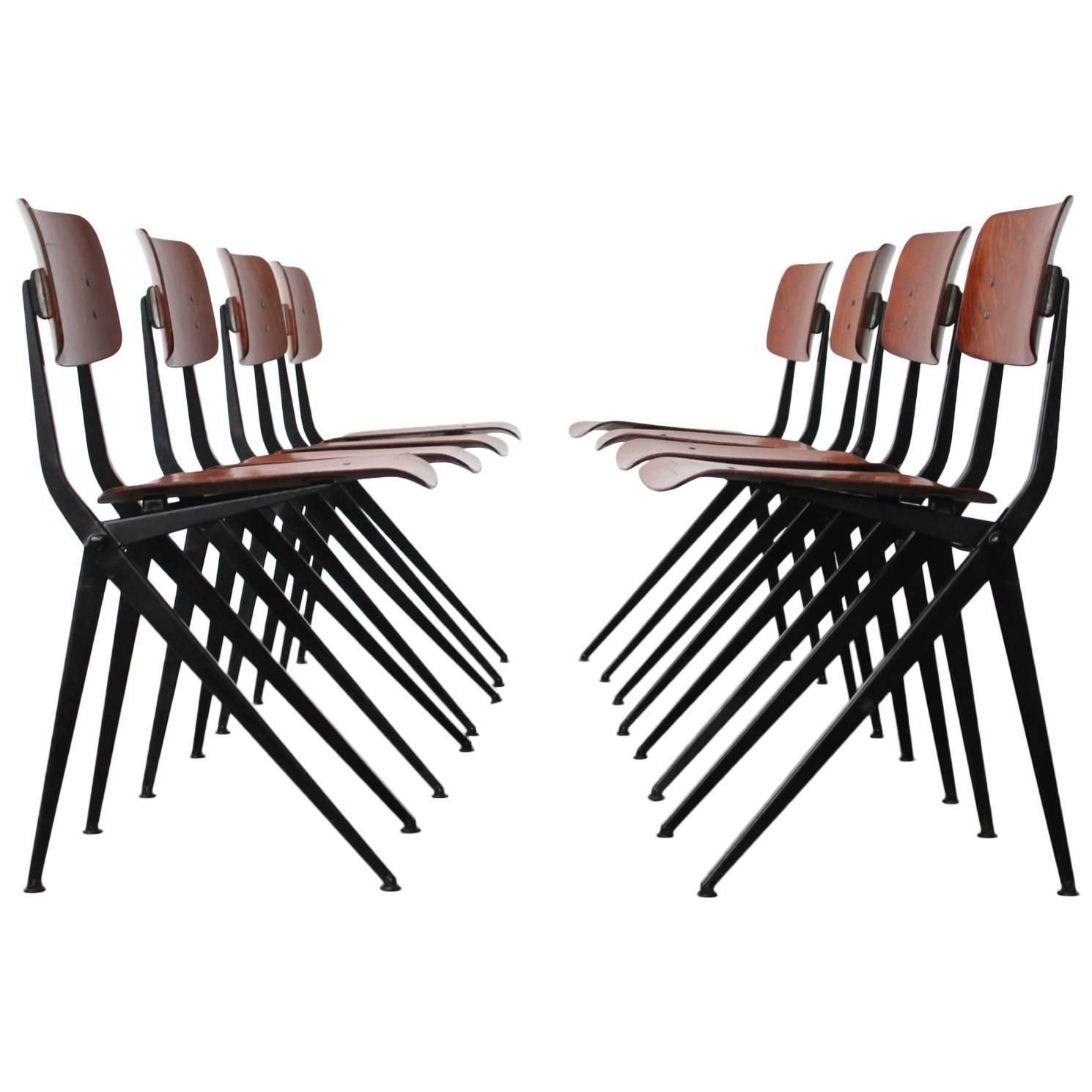 Set of 8 Rare Compass Leg Dining Chairs by Marko in Jean Prouvé ...
