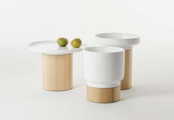 Luxurious Design Of Wooden And Ceramic Side Table