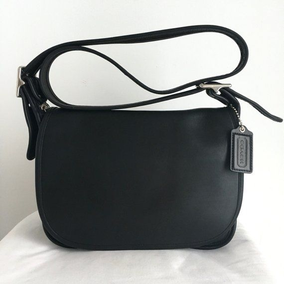 c26e1fc41c9f Vintage Coach Patricia s Legacy Black Leather Shoulder Bag with Nickel  Hardware