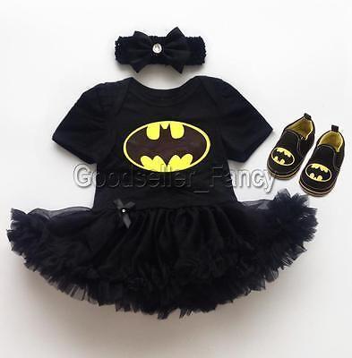 f16caa0dc14d Recién Nacido Bebé Niña Vestido Tutú De Disfraz De Batman Mameluco Body  Diadema Zapatos