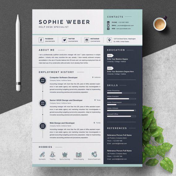 Resume Template Etsy Resume Template Etsy Resume Design Resume Template