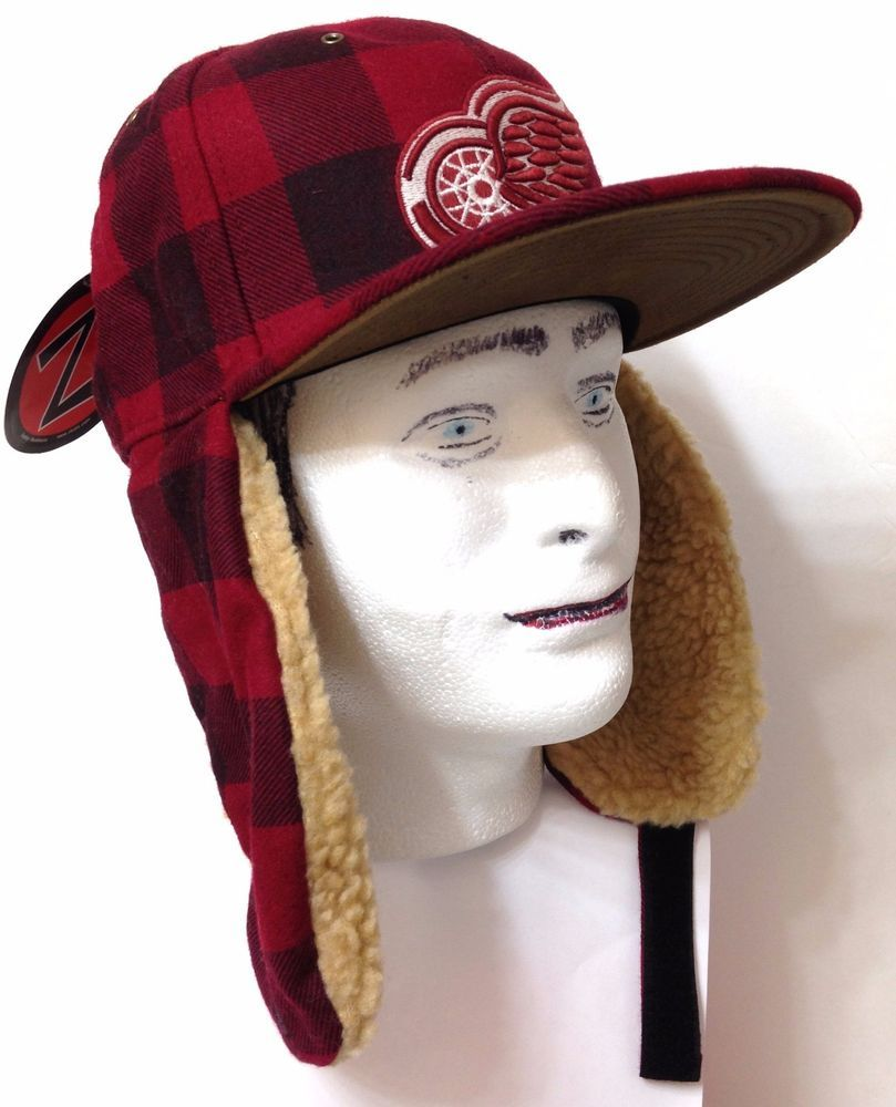 40 Detroit Red Wings Winter Trapper Hat Plaid Wool Ear Flap Mens Fitted 7 1 4 Zephyr Detroitredwings Ear Flap Detroit Red Wings Trapper Hats
