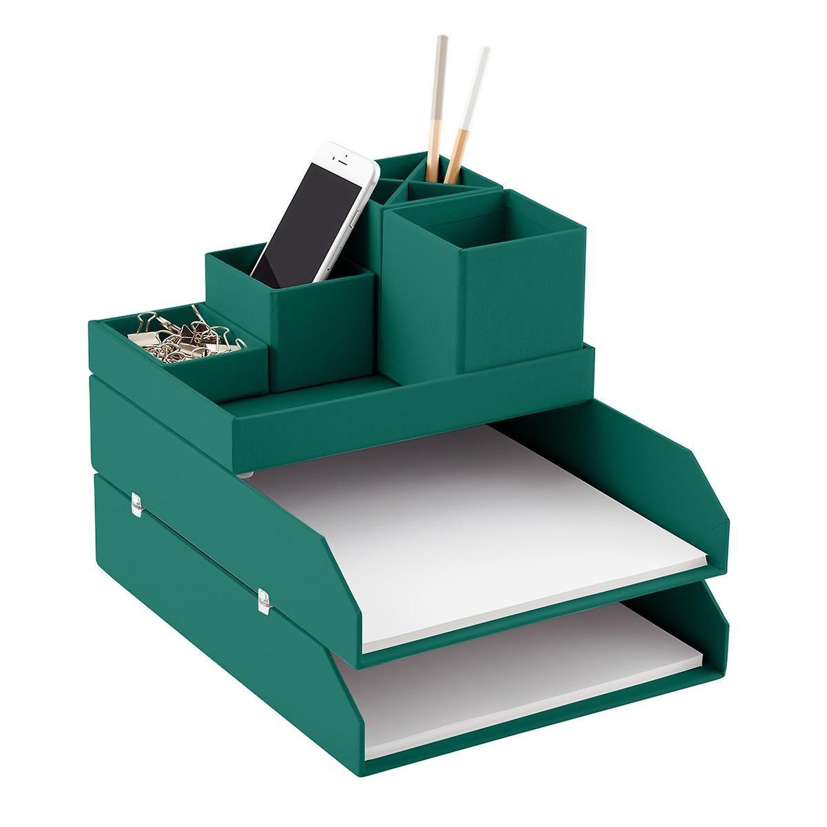 Bigso Emerald Green Stockholm Desktop Organizer Desktop Organization Desk Organization Diy Cardboard Organizer