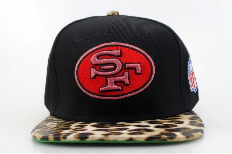 Mens San Francisco 49ers Mitchell   Ness Rose Iconic SF Logo 2016 NFL Faux  Leopard Leather Visor Strapback Cap 54cd748df