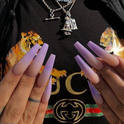 nail inspo imagem  lilac nails ombre acrylic nails