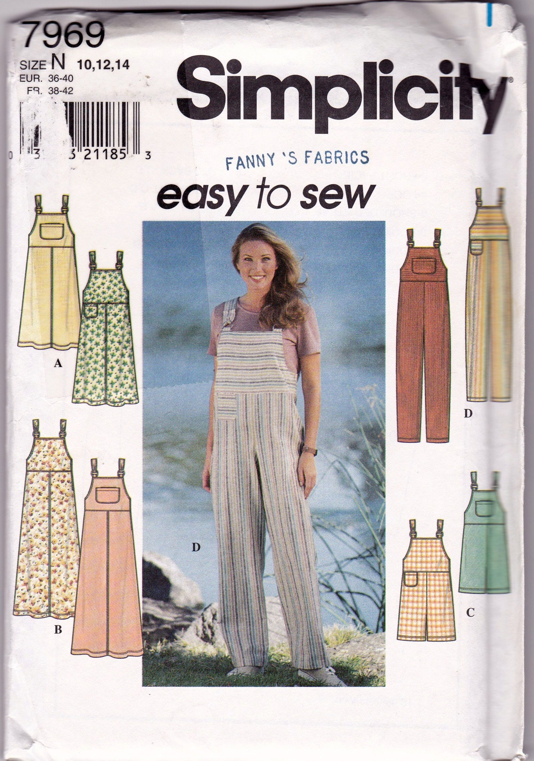 Simplicity 7969 Misses Sizes 10 12 And 14 Overalls And Jumper