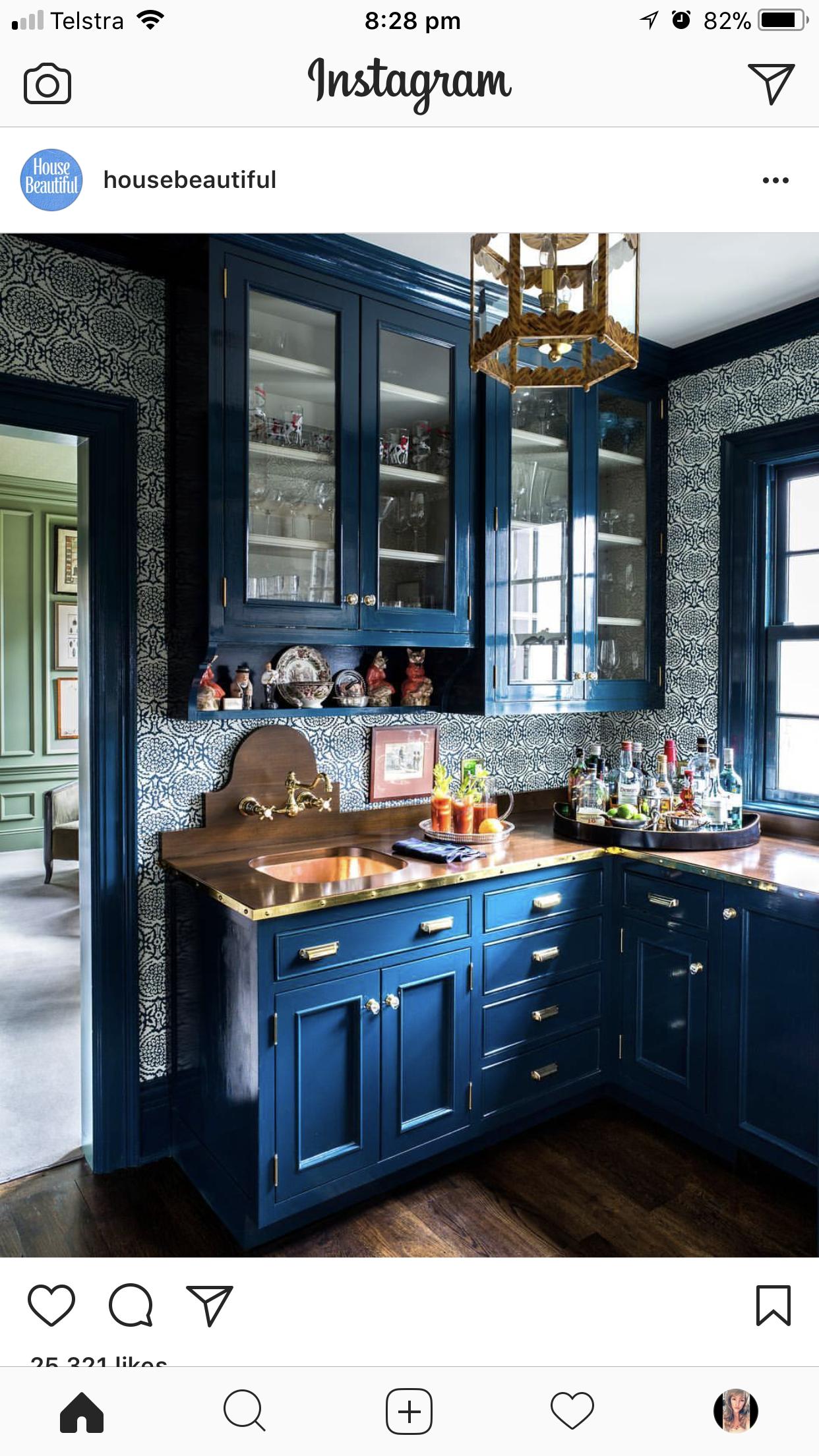 Interesting Color Choice Homemaking & Femininity  Pinterest Unique Blue Kitchen Design 2018