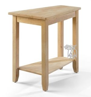 Solid Parawood Wood Chairside Wedge Table In Unfinished