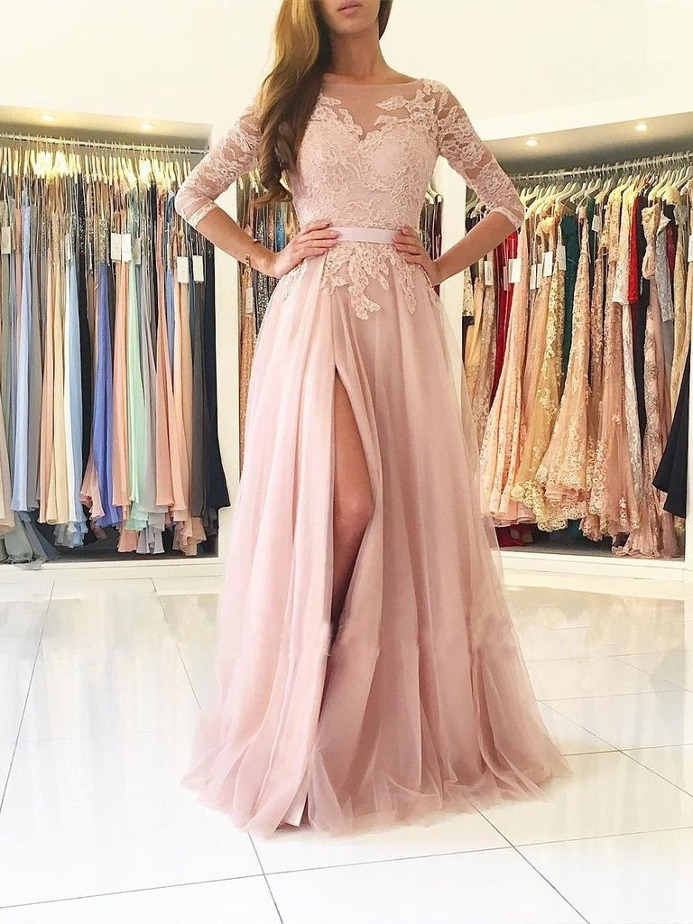 Stylish aline bateau splitfront light pink tulle long promevening