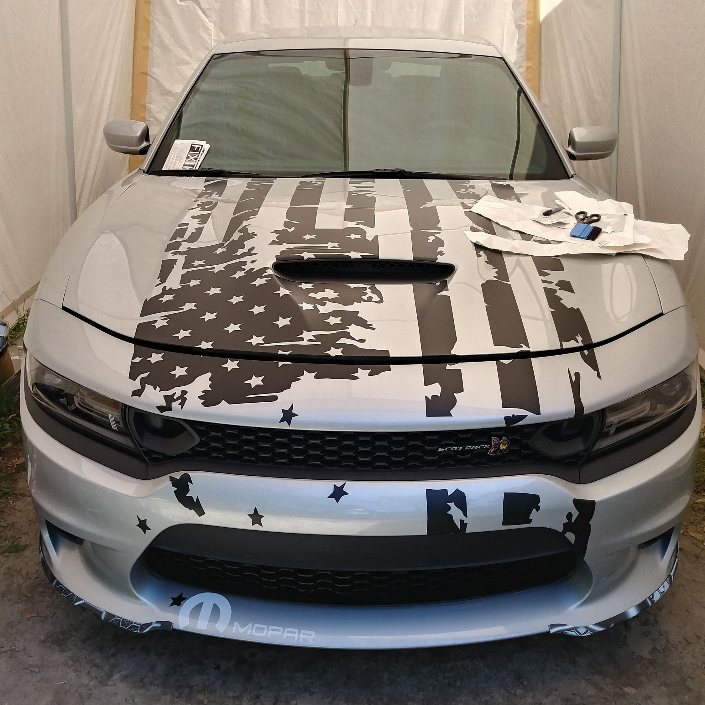 Large american flag vinyl decal sticker for hood or roof