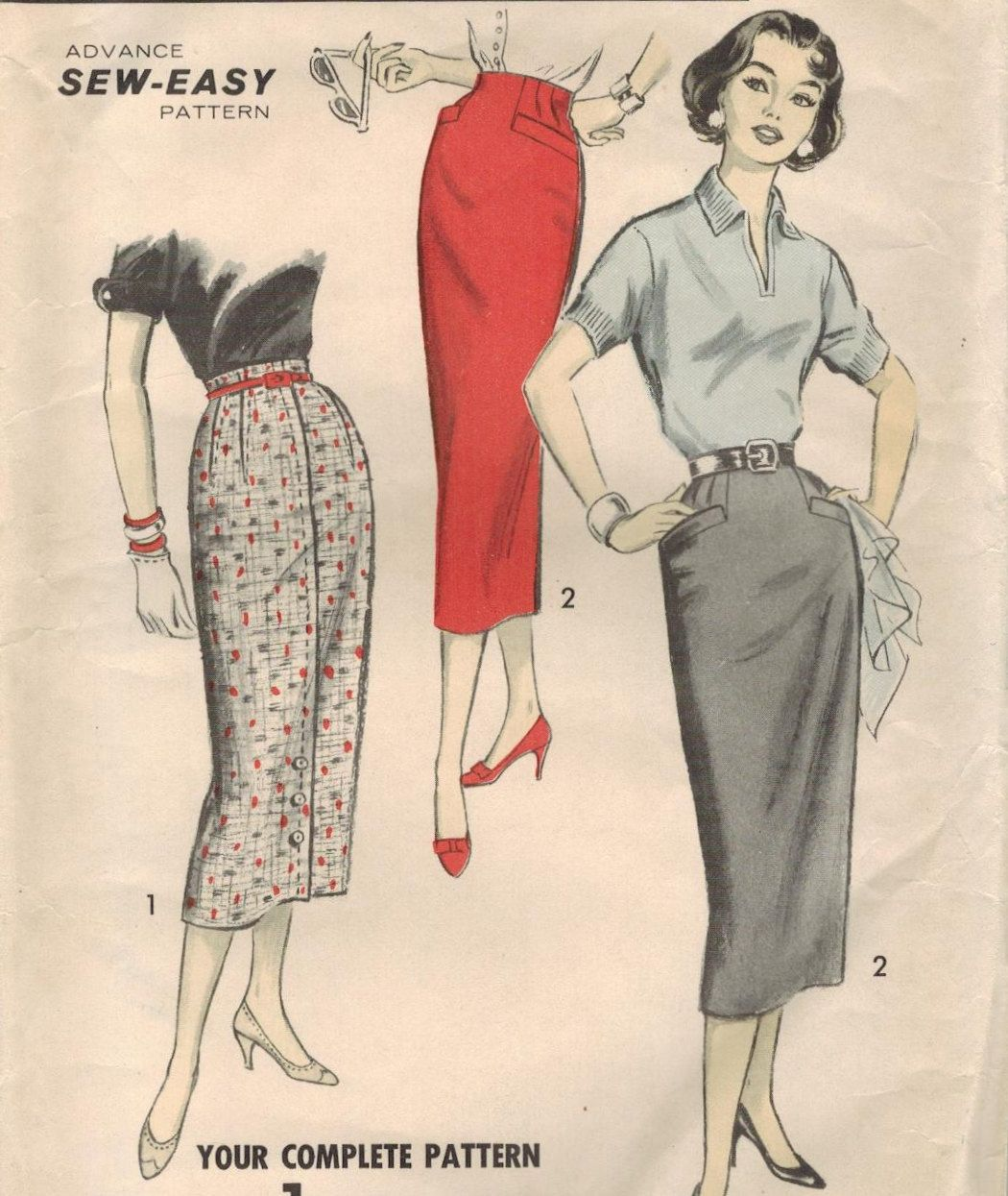 1950s Advance 8286 UNCUT Vintage Sewing Pattern Misses Pencil Skirts ...