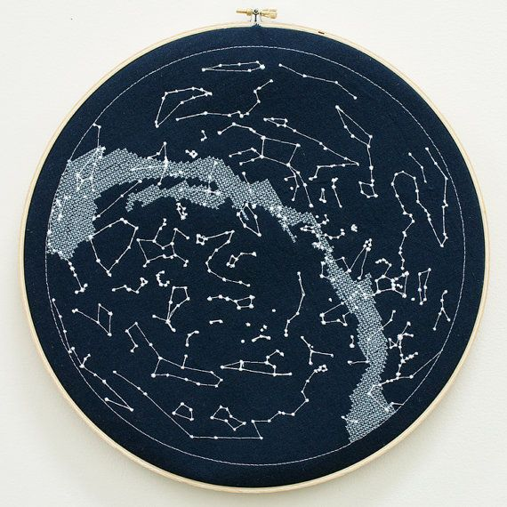Wall hanging embroidery constellations the milky way for Space embroidery patterns