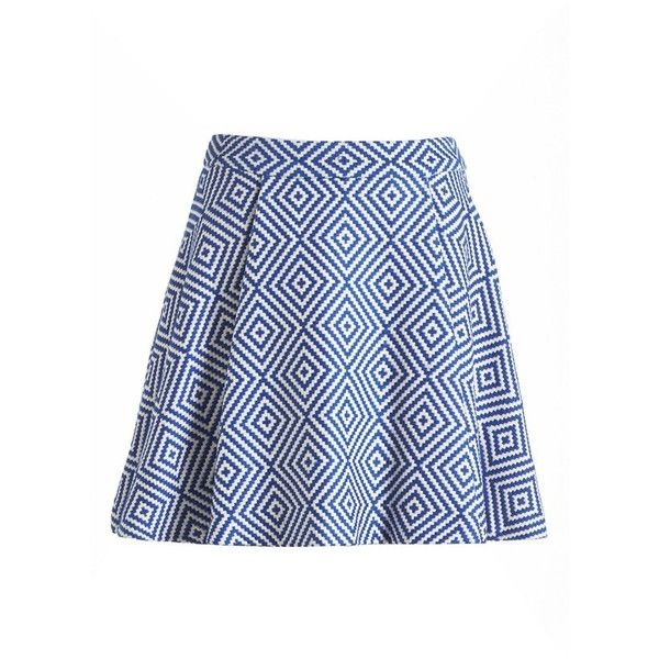 Piece & Co. and Alice + Olivia 'Vernon' Jacquard Flared Skirt (2 340 UAH) ❤ liked on Polyvore featuring skirts, knee length a line skirt, pleated a line skirt, blue pleated skirt, blue circle skirt и skater skirt