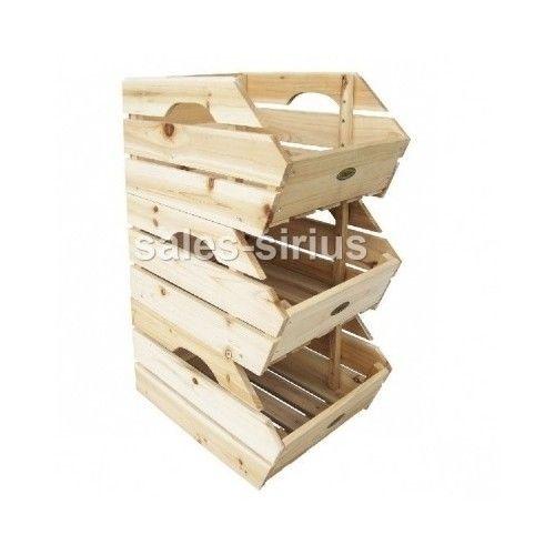 Wooden Kitchen Storage Fruit Box Unit Vegetable Crates Rack Basket
