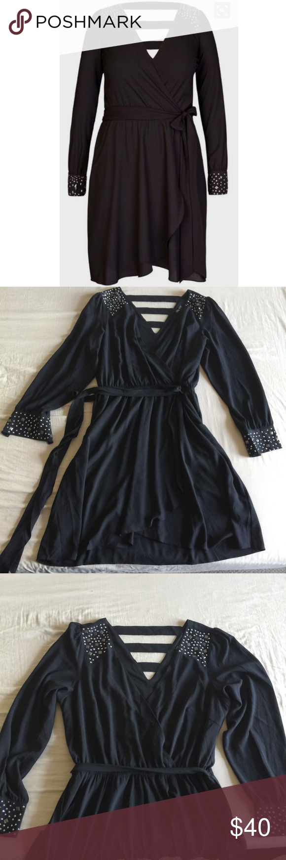 City Chic Stud Shoulder Tunic size 16 City Chic Studded Shoulder Black Tunic size S (16 US). Deep V-neck faux wrap embellished Tunic/mini dress. NWOT, never worn. Fabric belt, elastic waist and POCKETS! Bust  44 Waist stretches to 40 Hips 50 Length 19 City Chic Dresses