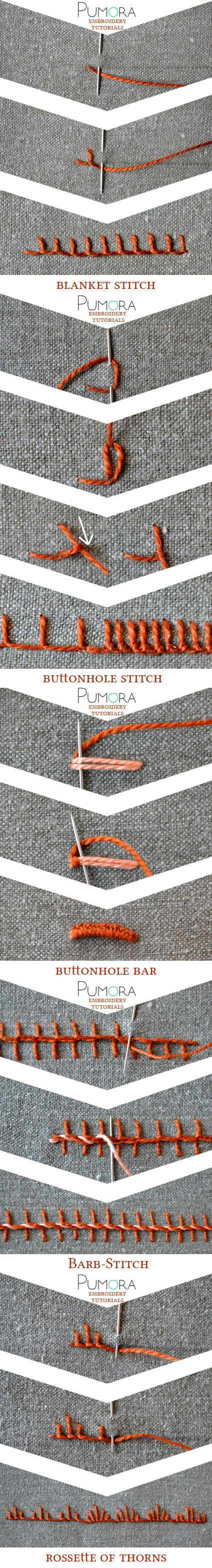 embroidery tutorials: blanket stitch with variations broderie, sticken, ricamo, bordado