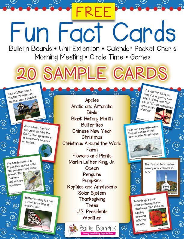 FREE Fun Fact Cards Pack - 20 Sample Cards Free fun, Bulletin - sample cards