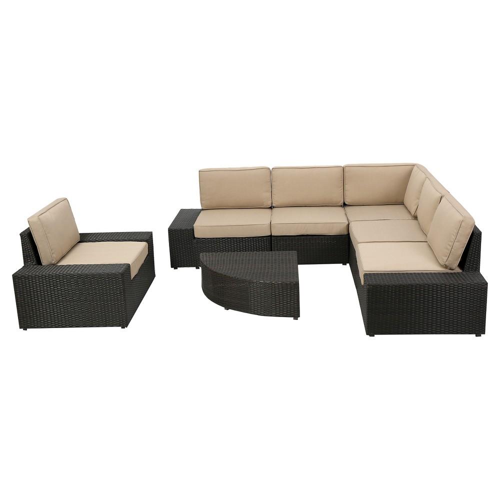 Christopher Knight Home Santa Cruz 7-Piece Wicker Patio Sofa Set with Cushions - Dark Brown