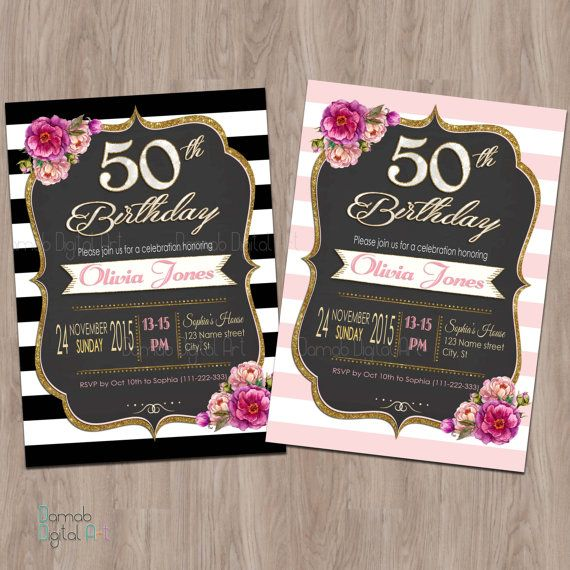 50th Birthday Invitation 50th Birthday Invitation for Women 50 and