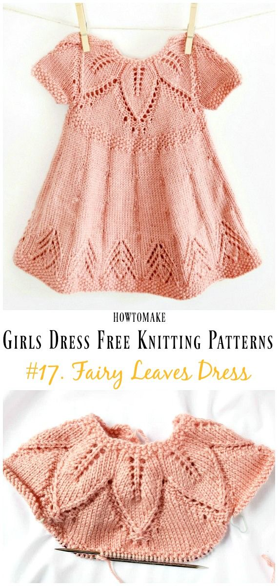 Little Girls Dress Free Knitting Patterns #knittingpatternsfree