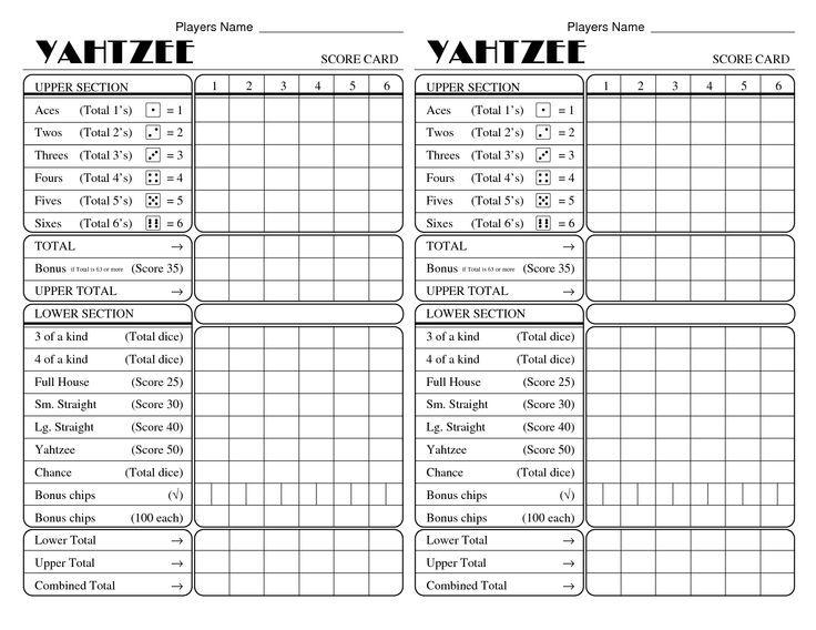Yahtzee Score Sheets Printable Kiddo Shelter