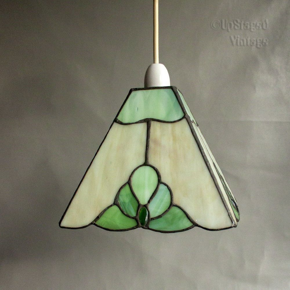 Vintage beautiful green tiffany style stained glass light lamp shade vintage beautiful green tiffany style stained glass light lamp shade free uk pp aloadofball Images