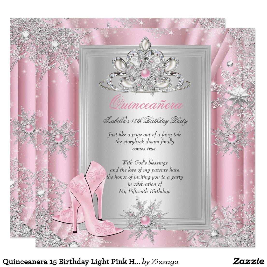 Quinceanera 15 Birthday Light Pink Heels 2 Invitation | Pinterest ...