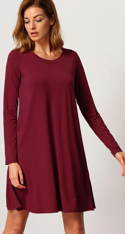 Burgundy long sleeve casual babydoll dress dresses pinterest