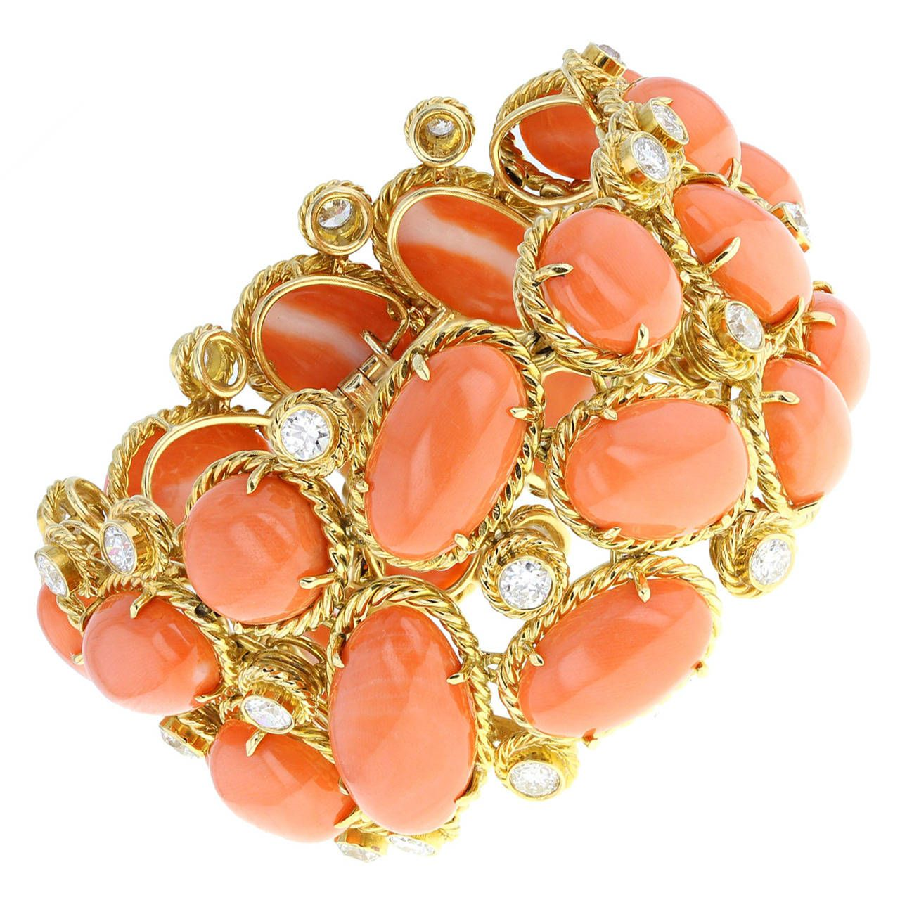 S van cleef u arpels coral diamond gold bracelet from a unique