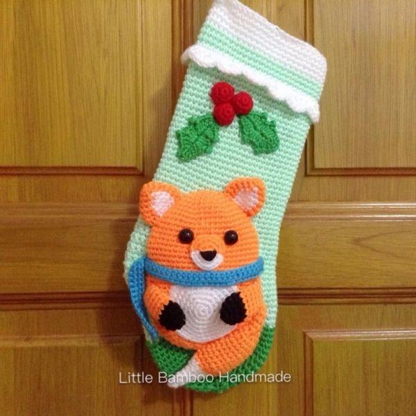Little Fox Christmas Stocking crochet pattern by Little Bamboo ...