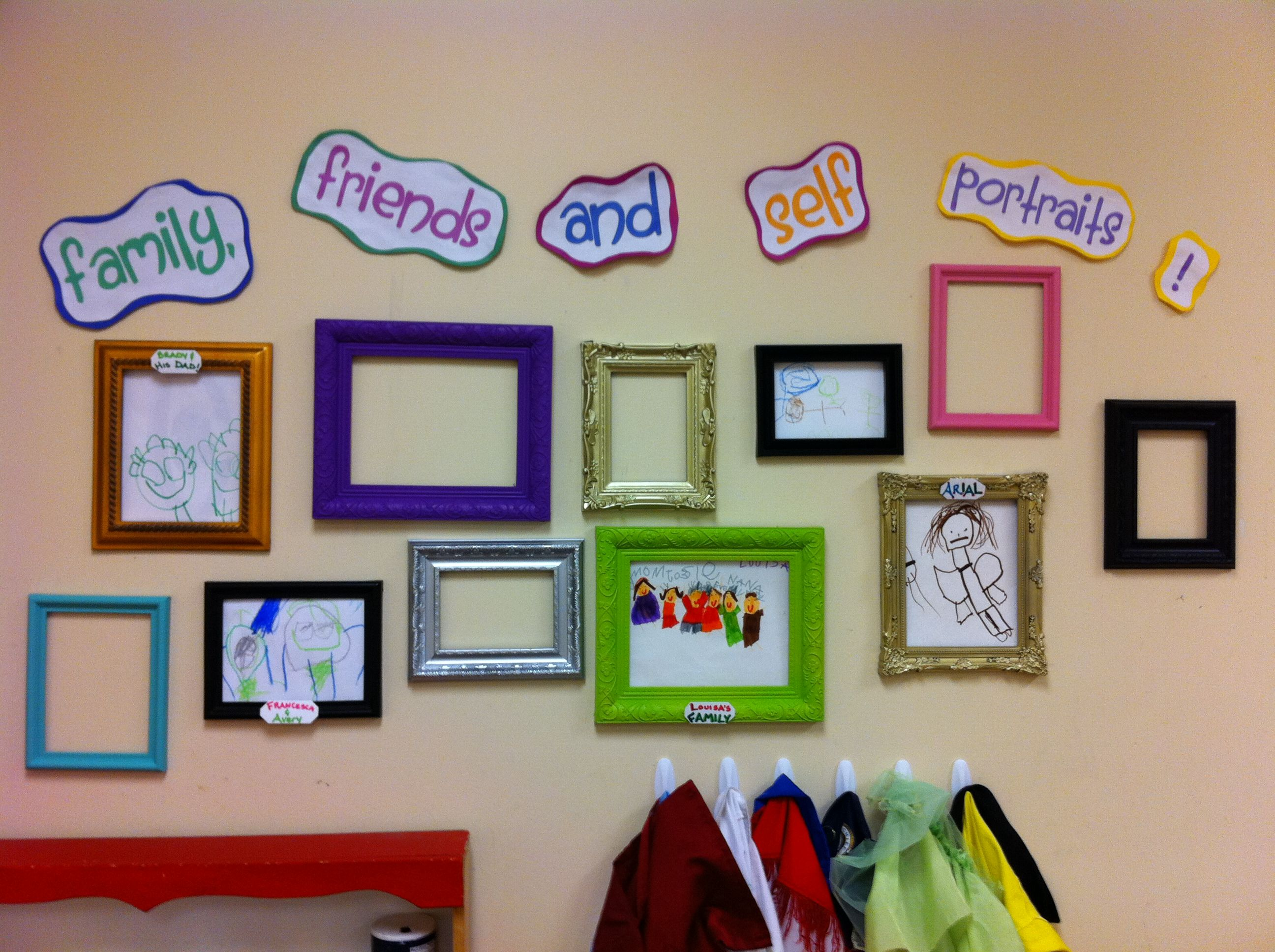 Wall colors for preschool rooms - Artwork With Frames Interchangeable Family Art Wall For A Preschool Classroom