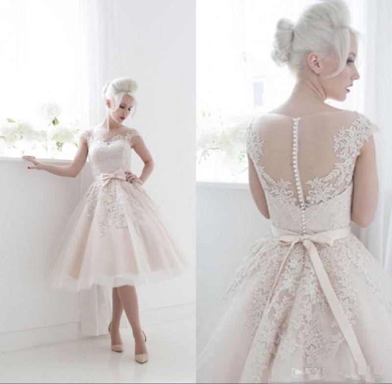 Details zu Brauch Schier Brautkleid Teelänge Spitze Hochzeitskleid ...