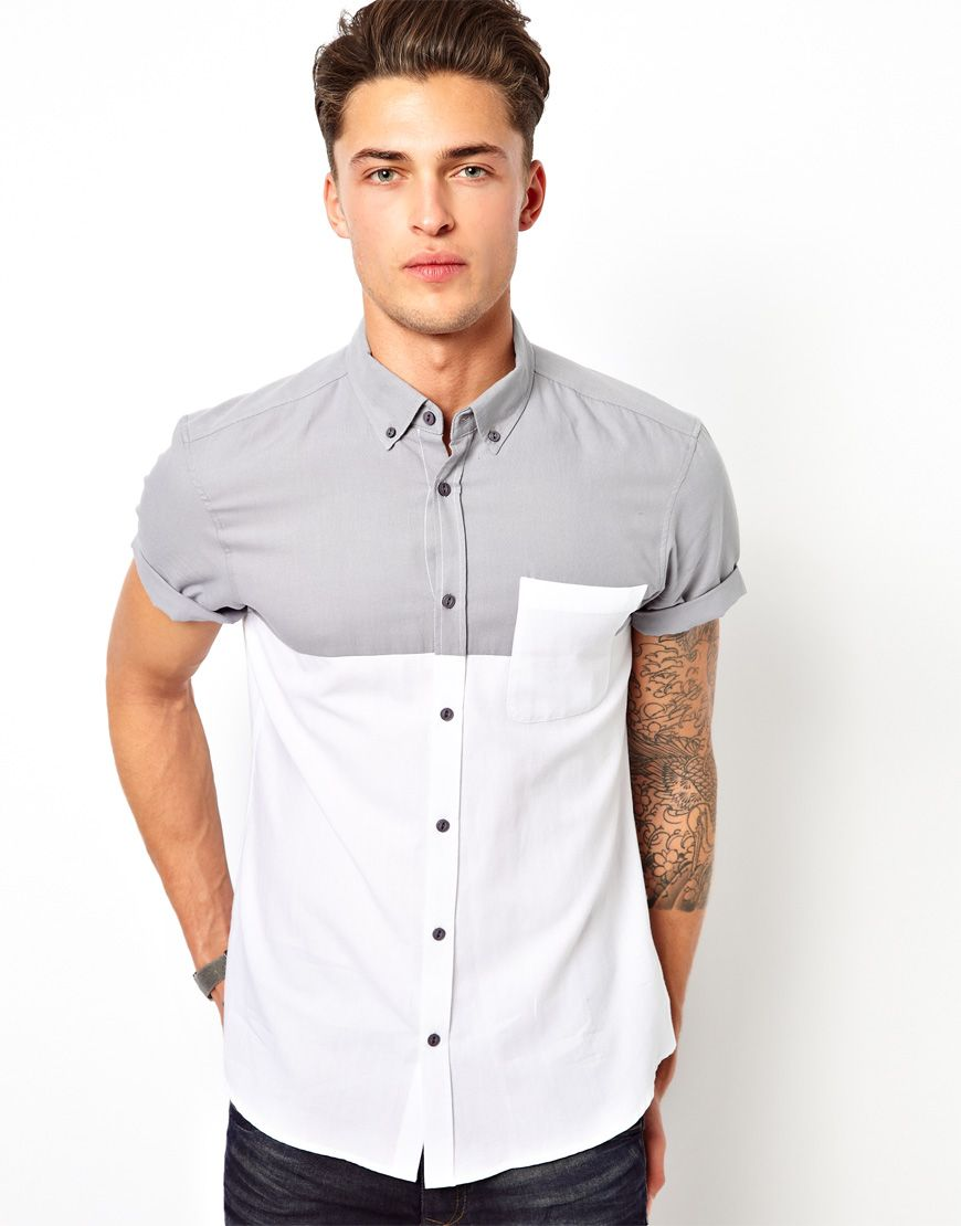River island short sleeve shirt in colour block style for Short sleeved shirts for men