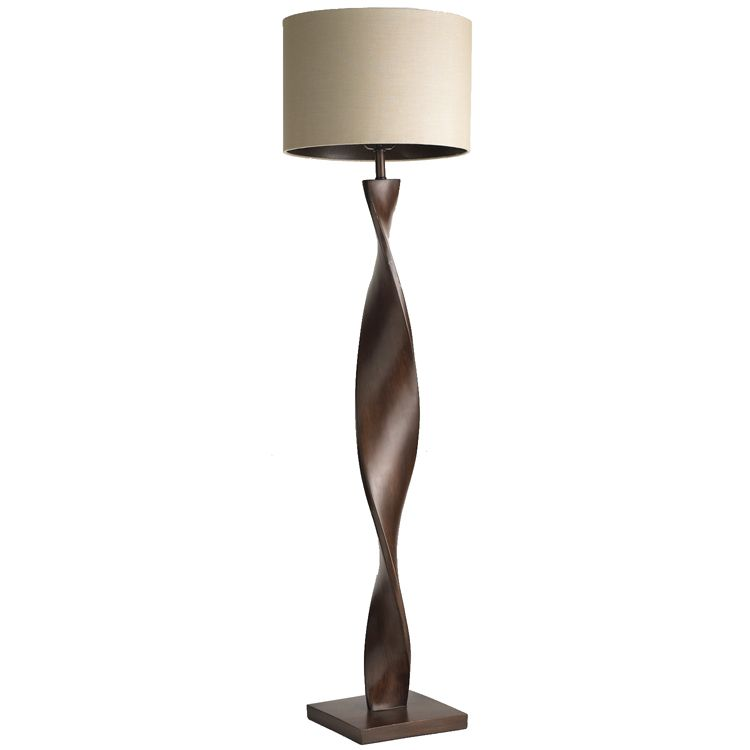 Brown twist floor lamp wood floor lampfloor lampsroom lampdrum shadepier 1 importscotton