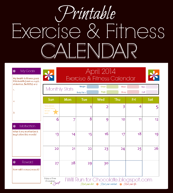 Free Printable Calendar To Track Your Workouts And Health And