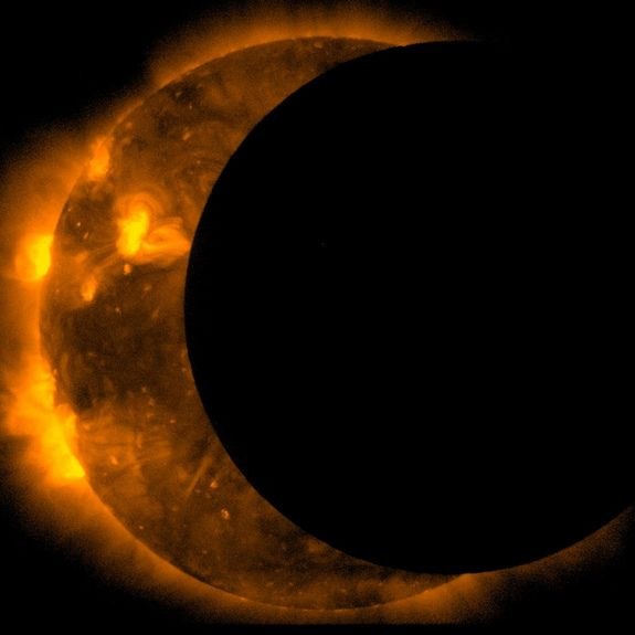 sun Close-Up EclipseCredit: JAXA/NASA/HinodeThe joint JAXA/NASA Hinode mission captured this images of an annular eclipse of the Sun on May 20, 2012. Eclipses are handy for scientists, who sometimes use the moon's edge as a target to focus and calibrate their equipment.