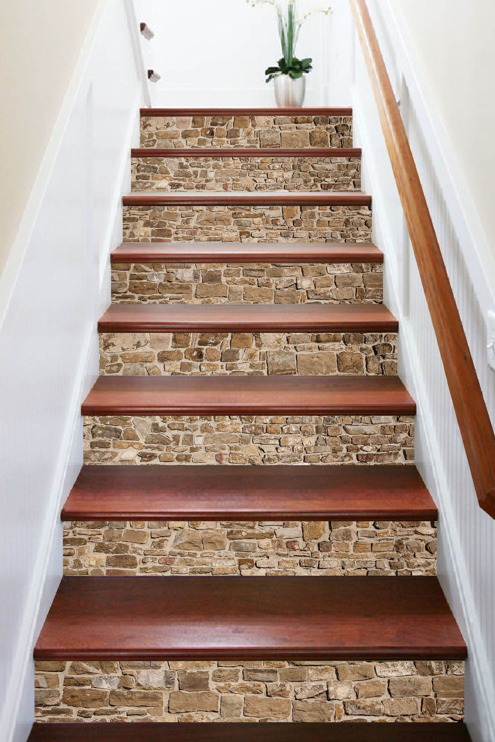 3D Vintage Brick 669 Marble Tile Texture Stair Risers | Tiles Design For Stairs Wall