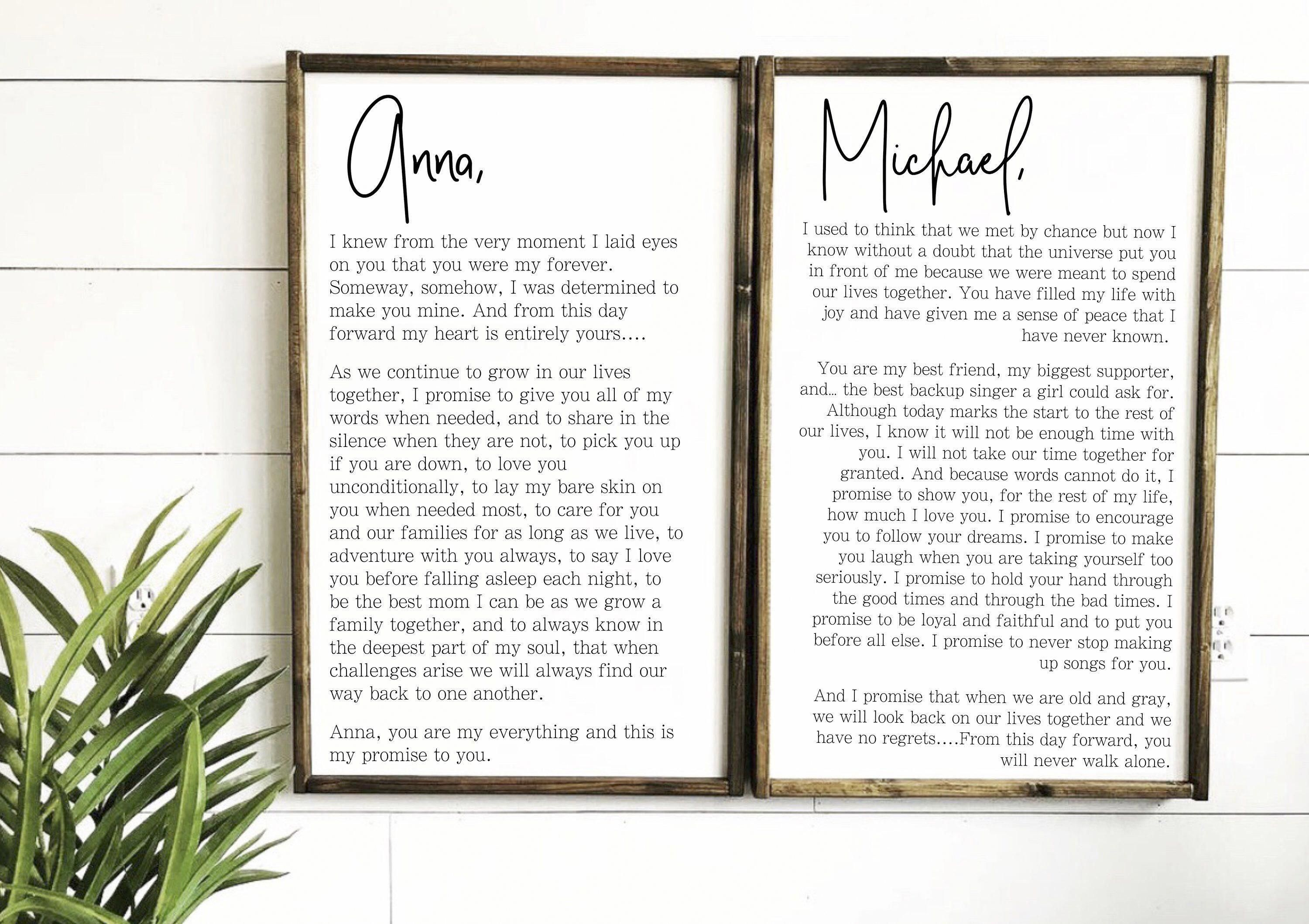 Wedding Vows Sign His And Her Customized Vows Wedding Vow Etsy Wall Art Master Master Bedrooms Decor Wall Decor Bedroom