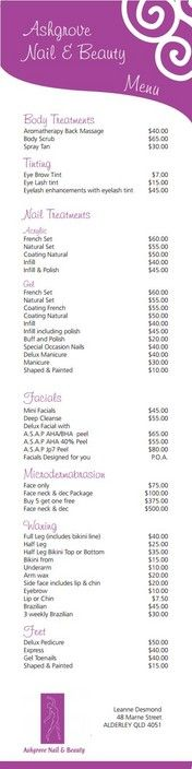 Ashgrove Nail \ Beauty Price List - Ashgrove Nail \ Beauty, Beauty - price sheet template