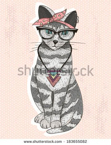Cute hipster rockabilly cat with head scarf, glasses and necklace - stock vector