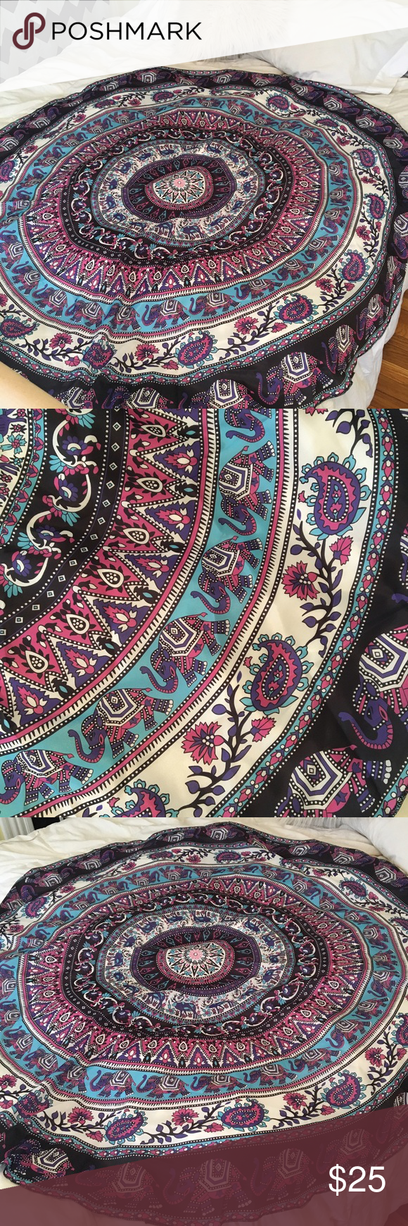 Round Purple Elephant Tapestry Large round tapestry with purple elephant design! Perfect to hang above your bed or use as a blanket for a picnic! I've seen these advertised as beach towels but this is not towel material. Urban Outfitters Accessories